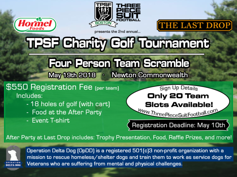 tpsf boston charity golf tournament three piece suit football